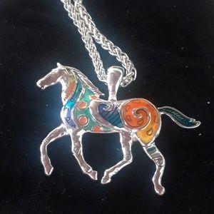 Enameled horse necklace. J12-1436